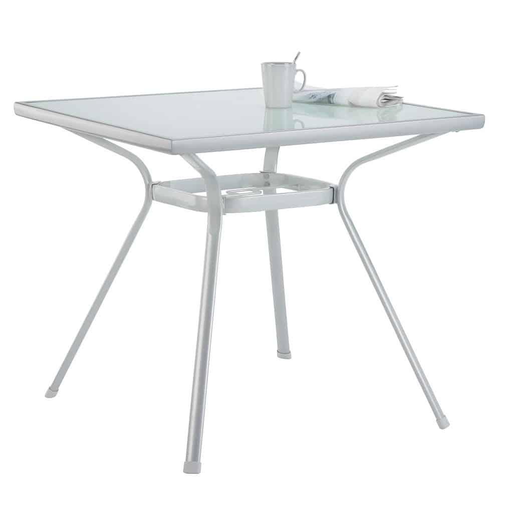 Balkontisch Gartentisch Stahl Glas Silber 80x80x71 Cm Von