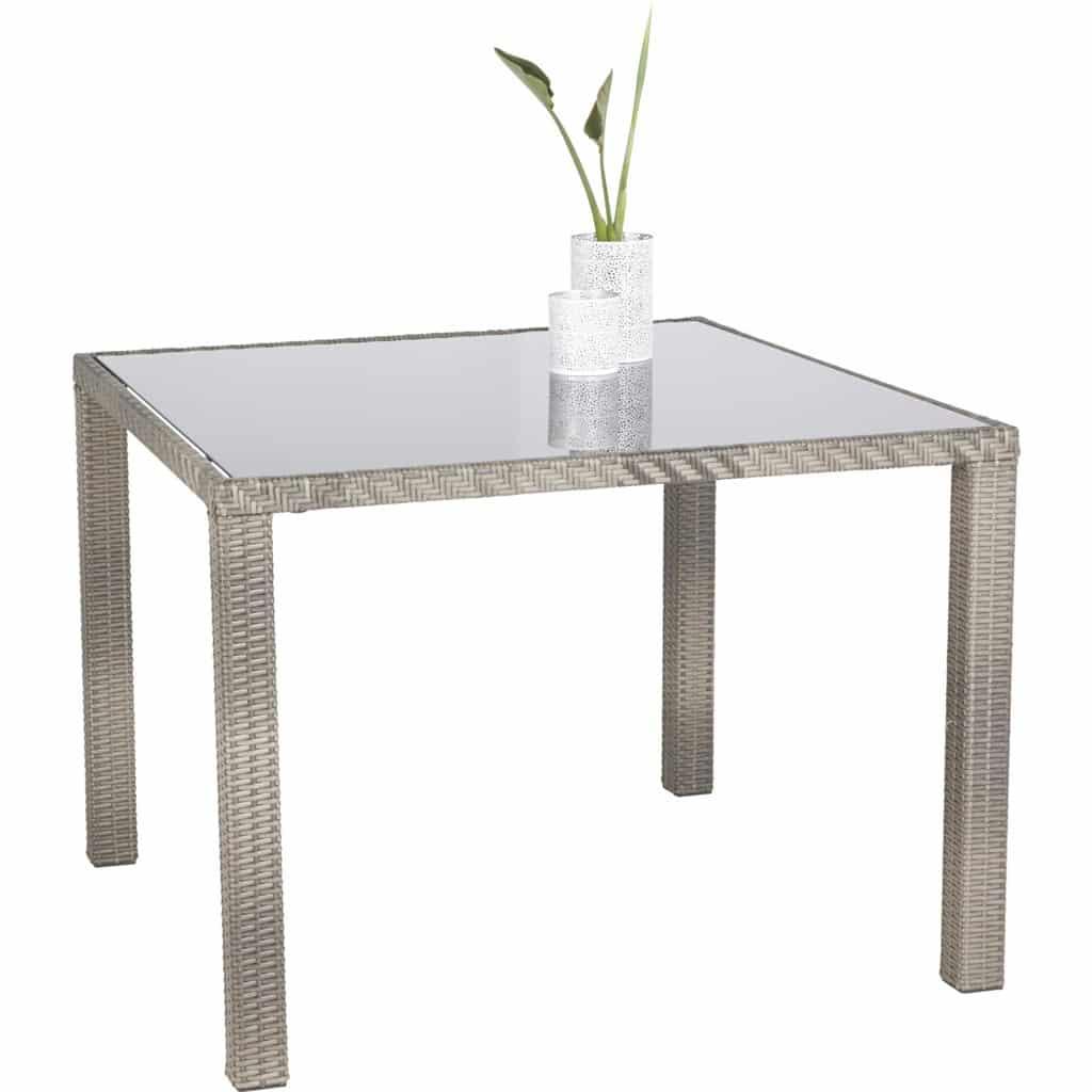 Balkontisch Gartentisch Aluminium Kunststoffgeflecht Grau 90x90x75 Cm Von Ambia Home