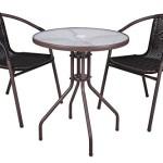 Bistroset mit 2 Stühlen, Kunststoff / Stahl, leicht zu reinigen, witterungsbeständig, mit Schirmloch