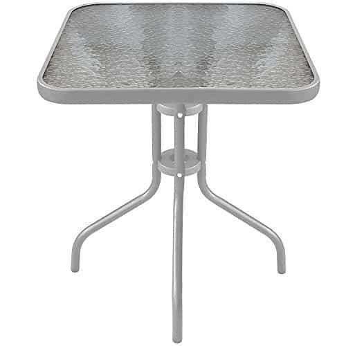 Balkontisch metall  Balkontisch mit Glasplatte, Metall / Glas, silber, 60x60x71cm, von ...