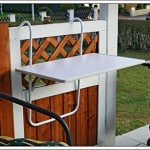 Balkonhängetisch, Metall / MDF Platte, leicht zu reinigen, abklappbar, platzsparend, günstig, zum einhängen, witterungsbeständig